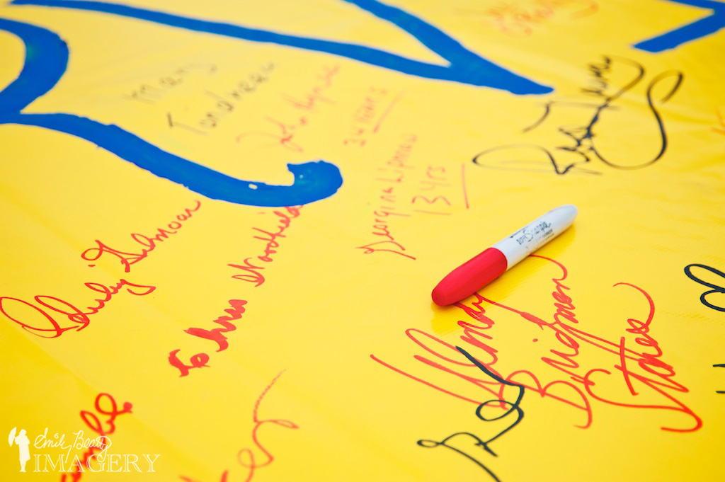 The survivor banner, with participants' signatures.