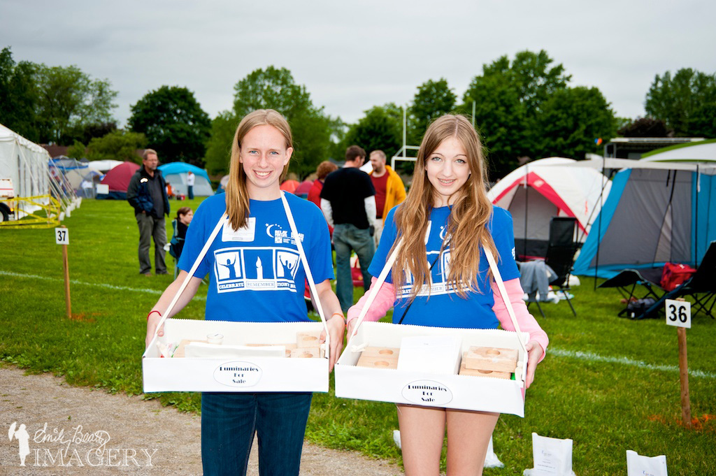 Luminary sales at Relay For Life, Cambridge, 2013.