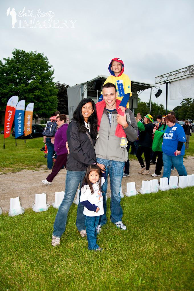 Family of four at Relay For Life, Cambridge, 2013.