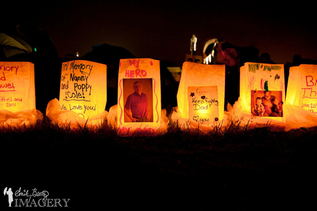Relay For Life luminaries.