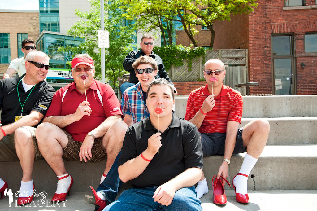 Walk A Mile In Her Shoes participants still smiling before the walk.