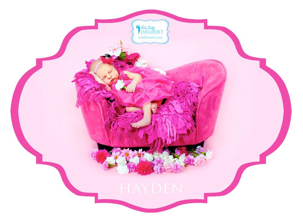 Pink newborn baby photo.