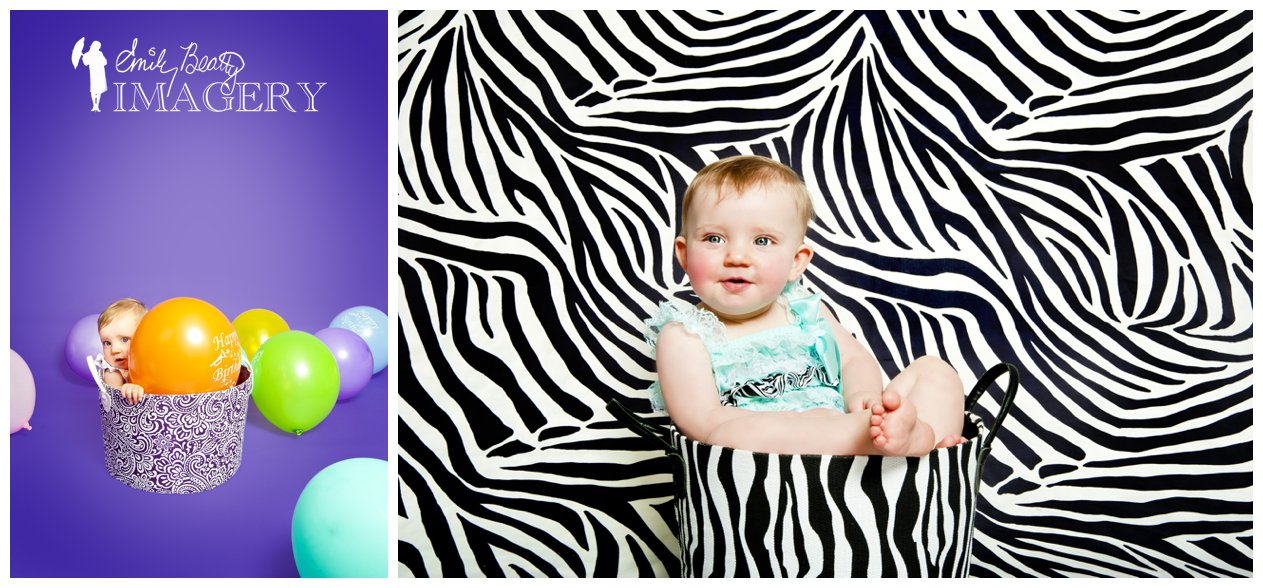 Birthday photos for one year old baby girl.