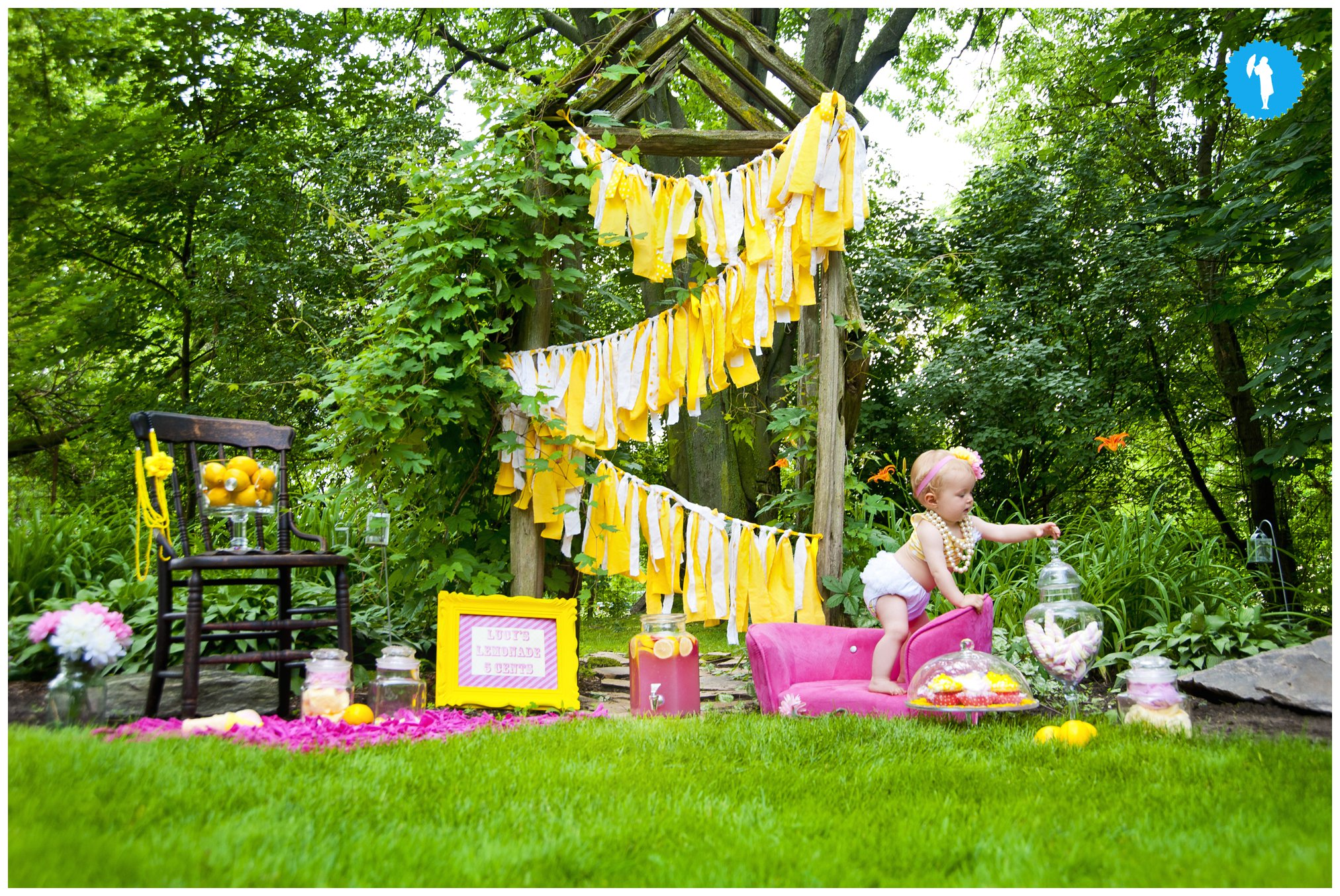 Lemonade stand for first birthday portraits in Elmira, Ontario by Emily Beatty Imagery.