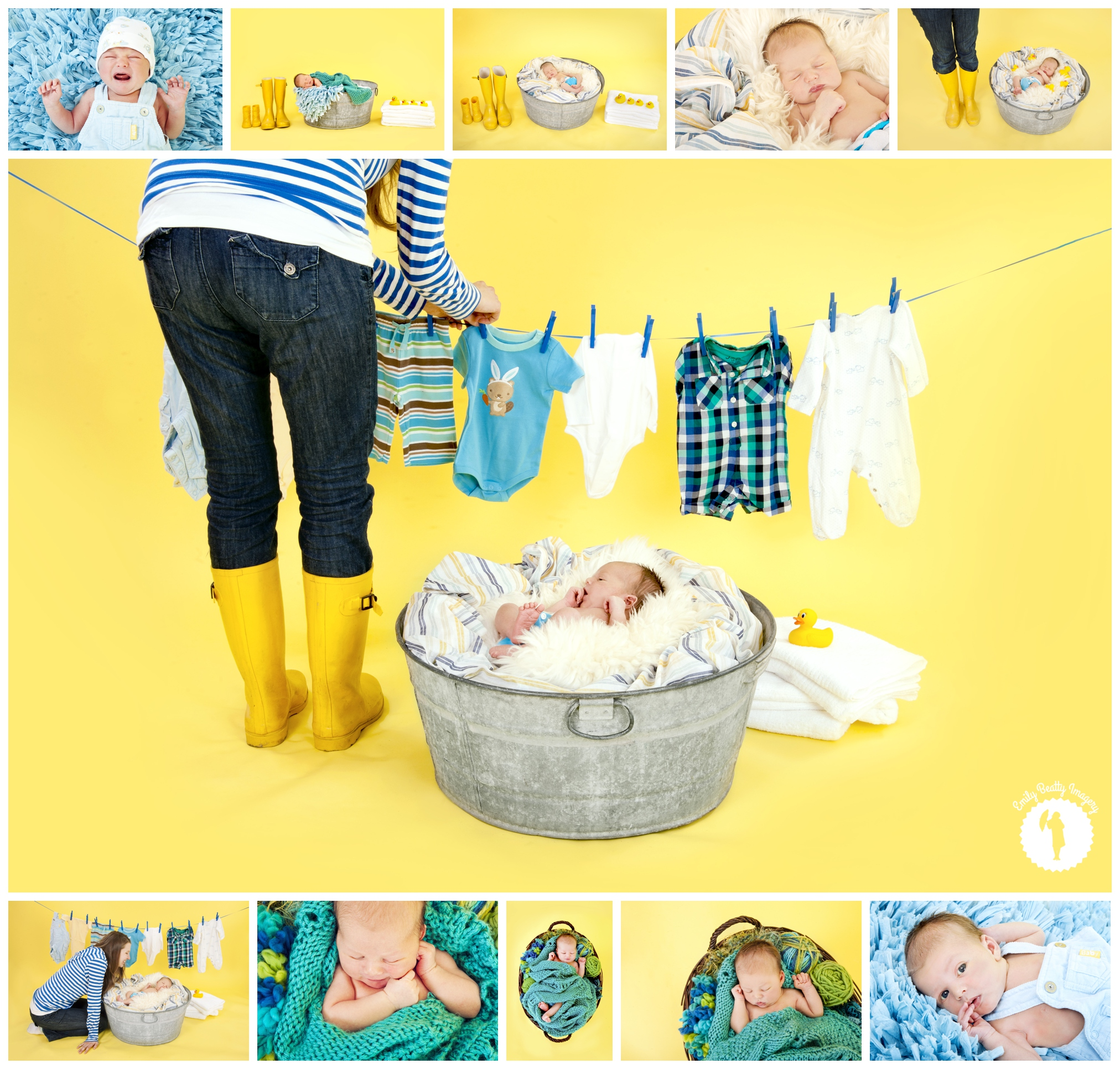 yellow blue and green laundry themed newborn photography shoot in Elmira, Ontario