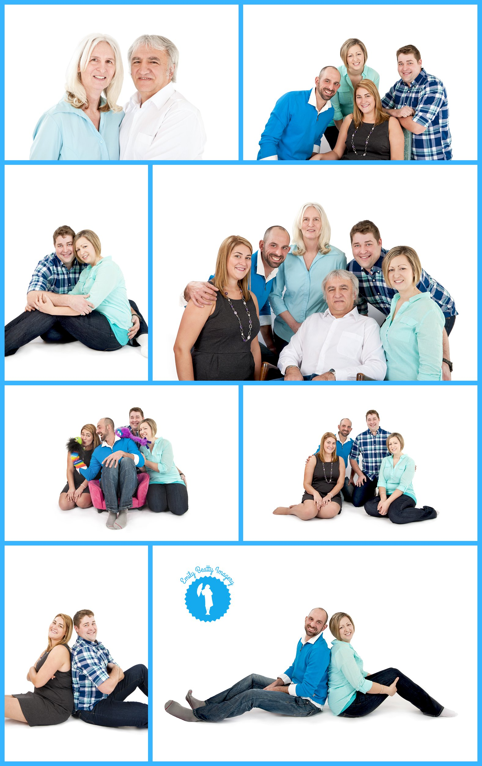 Blue and white family photos in Kitchener, Ontario.