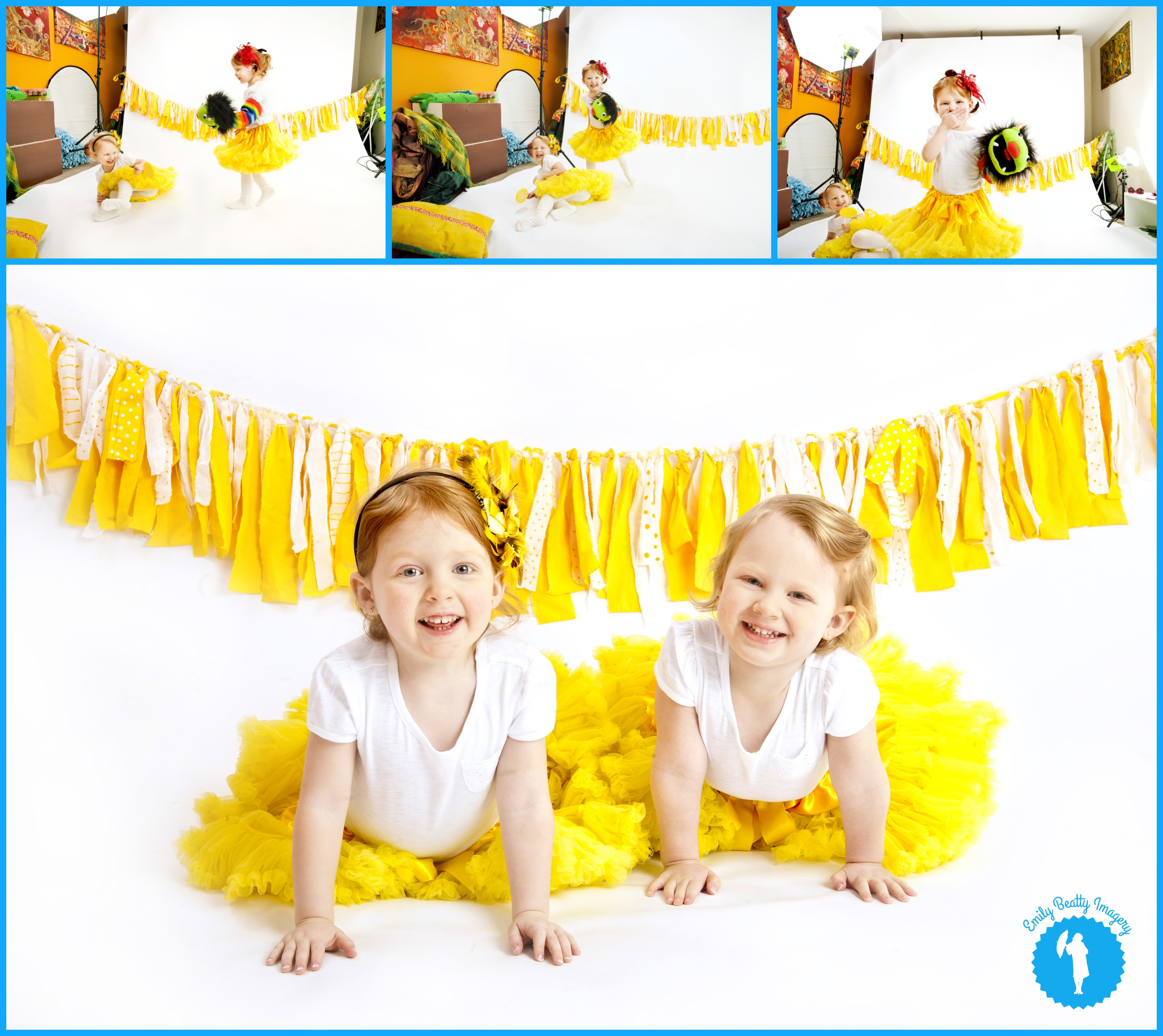 Yellow and white behind the scenes kids photo shoot.